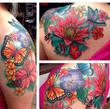 Ladybug And Flower Tattoos - colourful flower and butterfly tattoo on arm shoulder and back