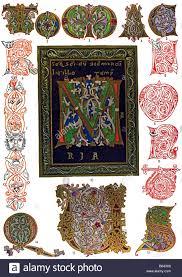 romanesque ornament in germany illuminations stock photo royalty
