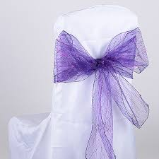 Purple Chair Sashes Glitter Chair Sash Chair Bows Wholesale Glitter Organza Chair