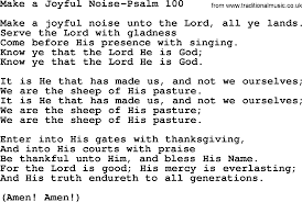 hymns from the psalms song make a joyful noise psalm 100