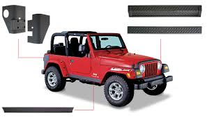 jeep matte red jeep trail armor six piece set oe matte black 14901 bushwacker