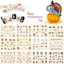 12 sheets thanksgiving day nail water transfer sticker