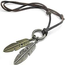 mens necklace stores images Konov vintage angel feather pendant leather cord mens necklace jpg