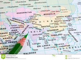 Dia Map India Pointed In World Map Stock Images Image 15575034