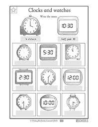 1st grade math worksheets clocks and watches greatschools