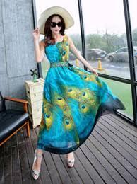 discount bohemian peacock print maxi dress 2017 bohemian peacock