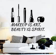 beauty makeup quote vinyl wall decal beauty salon quote cosmetics makeup stickers