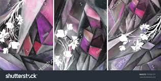 hand drawn oil painting triptych flowers stock illustration