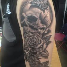 butterfly skull and roses half sleeve tattoos photo 2 2017 real
