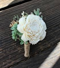sola flowers groom boutonniere succulents dusty miller sola flowers