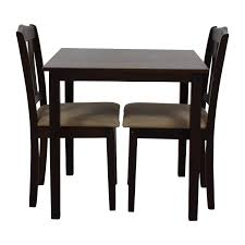 Wooden Dining Table Furniture 46 Off Wood Dining Table And Beige Upholstered Chairs Tables