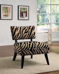 Printed Living Room Chairs Design Ideas Fancy Decorating Ideas Using Rectangular Brown Fabric Zebra Motif