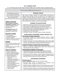 Business Analyst Resume Entry Level Investment Recentresumes Com