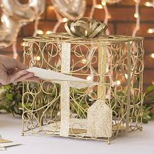 wedding gift card holder gold matte metal scroll wedding gift card box
