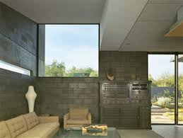 concrete block houses concrete block living room of desert house 3d architecture