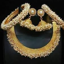white pearl necklace designs images Designer bridal matt gold with white pearl necklace earring jpg