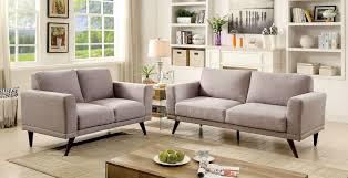 janie mid century modern gray padded linen 2 pcs sofa u0026 loveseat