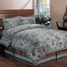 bedroom brown florlar pattern on aqua blue duvet covers king size