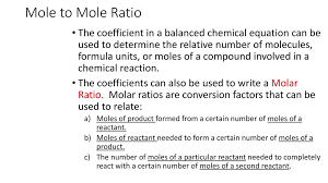 mole to mole ratio chapter 9 section ppt download