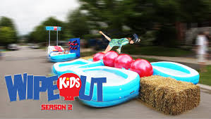 dad builds wipeout kids course on street youtube