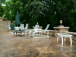 Concrete Patio Bench Stained Concrete Patio With Retaining Walls And Lots Of Landscape