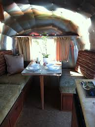 Vintage Airstream Interior by A New Dinette Bed Inside A 1965 Airstream Caravel Done At Www