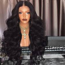 long black hair with part in the middle synthetic wigs black long middle part fluffy loose wave synthetic