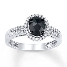 kay jewelers charms kay black diamond ring 1 ct tw oval cut 14k white gold