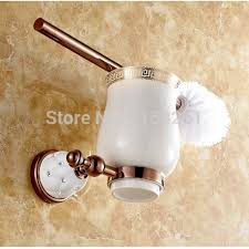 luxury rose gold plated finish toilet brush holder with ceramic