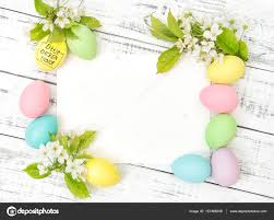 Easter Egg Decorating On Paper by Easter Eggs Decoration Paper Greetings Card Spring Flowers U2014 Stock