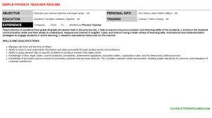 phonics teacher cover letter u0026 resume