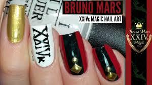 bruno mars 24k magic nail art tutorial music nail art youtube
