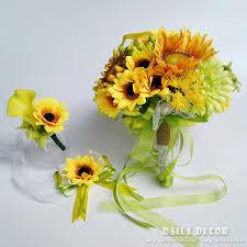 sunflower wedding bouquet artificial yellow sunflower wedding bridal bouquet bridesmaids