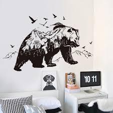 stickers animaux chambre b la fundecor montagne noir ours stickers muraux enfants