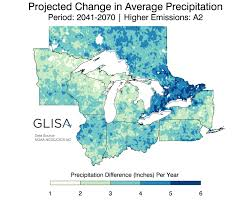 Map Of Michigan Lakes Great Lakes Regional Climate Change Maps Glisa