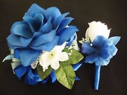 royal blue corsage prom royal blue white flower wrist corsage boutonniere set or