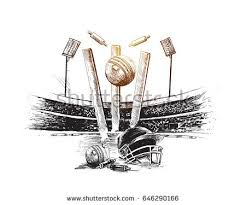 cricket ball hitting bowling over wicket stock vector 603500192