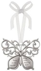 god grant me serenity butterfly silver filigree ornament