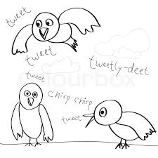 collection bird doodles isolated whiteeasily customize