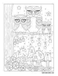 ornamental owls edwina mc namee coloring pages animals