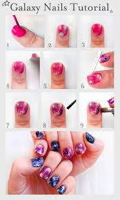 pretty squared galaxy nails tutorial nail art tutorial beauty