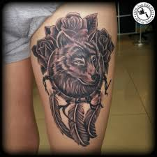 wolf dreamcatcher roses by arturtattooart on deviantart