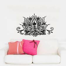online buy wholesale home decor wall stickers india from china dsu yoga lotus wall decals india mandala om viny bedroom wall stickers removable home decor cw