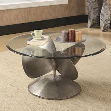 Round Glass And Metal Coffee Table Coaster 704558 Round Glass Top And Metal Propeller Base Nautical