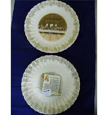 sanders mfg co lord s supper plate antique supper prayer 24 kt gold trimmed plates