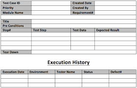Excel Test Plan Template Test Template Exle With Explanations