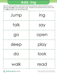 inflectional endings ing and ed lesson plan education com