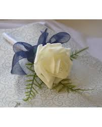 wedding flowers for guests 1 single buttonholes in ivory and navy blue artificial
