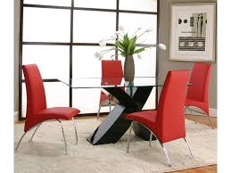 Red Dining Room Table And Chairs Cramco Inc Mensa 5 Piece Rectangular Glass Top Table With Black