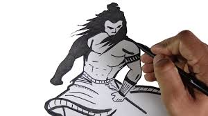 how to draw lord shiva parameshwara in a warrior look youtube
